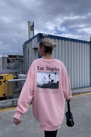 Pembe Los Angeles Baskılı Oversize Sweat