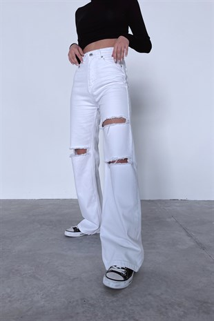 Pnz Beyaz Distressed Straight Jean
