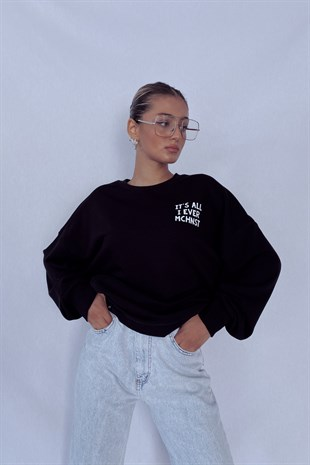 Siyah Future Oversize Sweat